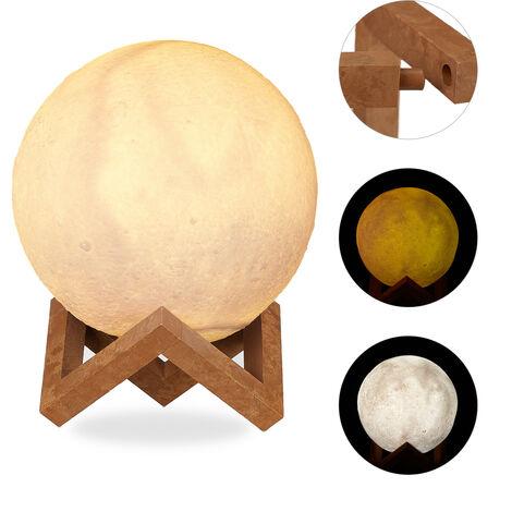 lampe lunbe 3D, 2 couleurs, réglable, senseur tactile, sans câble, avec pied,pour enfants, clairs de lune LED,15cm blanc
