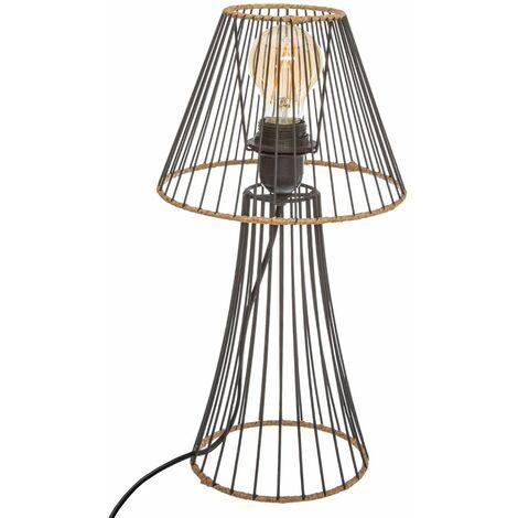 Lampe Métal Rotin - Noir