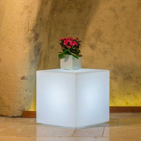 Lampe Mod Cube En Resine Carre Avec Led