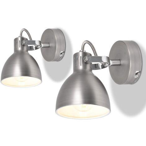 Lampe murale 2 pcs pour 2 ampoules E14 Gris