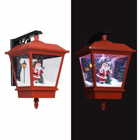 Lampe murale de Noel lumieres LED et Pere Noel Rouge 40x27x45cm