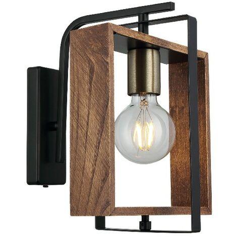 Lampe Murale Karo - Applique - Or, Noir, Bois en Metal, Bois, 24 x 22 x 29 cm, 1 x E27, Max 40W
