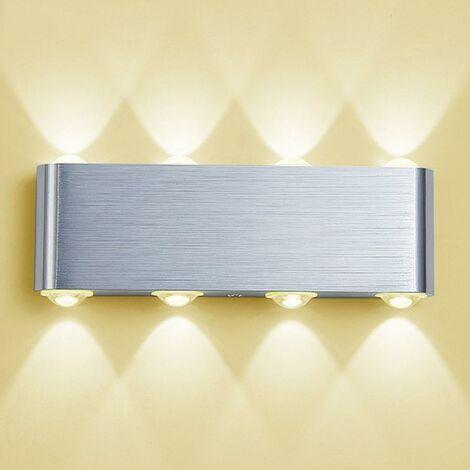 Lampe Murale LED, 8w Moderne Aluminium LED Applique Murale Interieur Éclairage Mural, Applique Murale Lumières pour Cuisine Escalier Chambre Couloir Salon, Les Lampes de Nuit (Blanc Chaud)