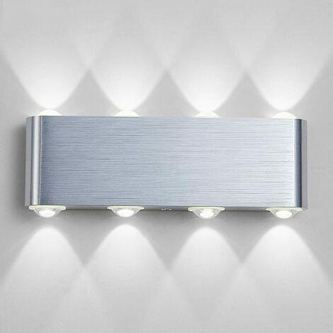 Lampe Murale LED, 8w Moderne Aluminium LED Applique Murale Interieur Éclairage Mural, Applique Murale Lumières pour Cuisine Escalier Chambre Couloir Salon, Les Lampes de Nuit (Blanc Froid)