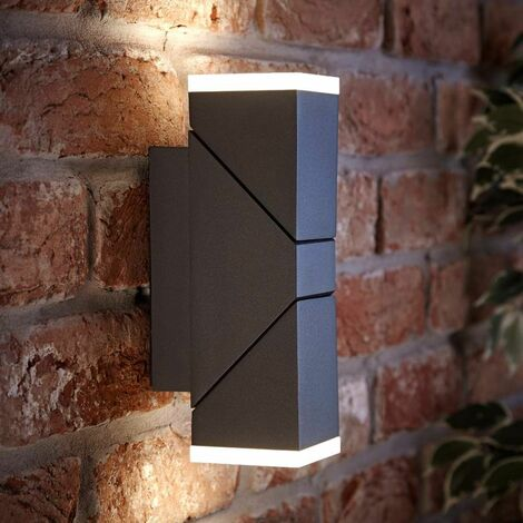 """main image of """"Lampe Murale LED Haut-Bas d'Extérieur Moderne Carrée Anthracite IP54 A++ Jardin Porte - Noir"""""""