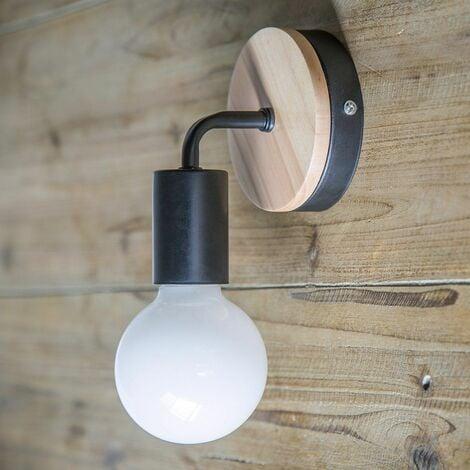 Lampe murale noire Simplicity E27 LED Applique murale en fer et en bois pour salle des enfants Chambre Bar Hôtel (sans ampoule)