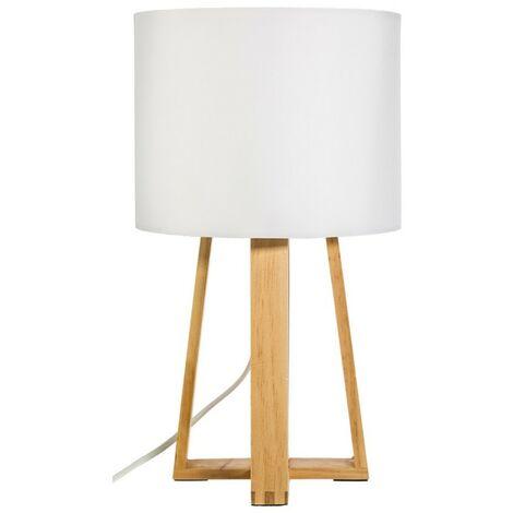 Lampe pied bois Molu blanc - Blanc
