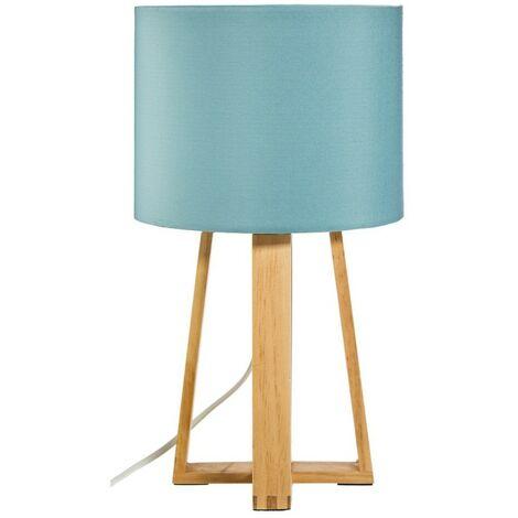 Lampe pied bois Molu bleu - Bleu