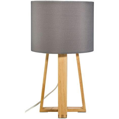 Lampe pied bois Molu gris - Gris