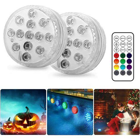 """main image of """"Lampe Piscine LED Lumières LED Submersibles (2 Pcs) pour fontaine de piscine, mariage, fête, Halloween, Noël Décoration ("""""""