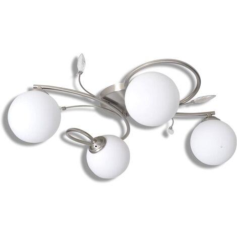 Lampe plafond avec feuilles acryliques verres soufflés 4 ampoules G9