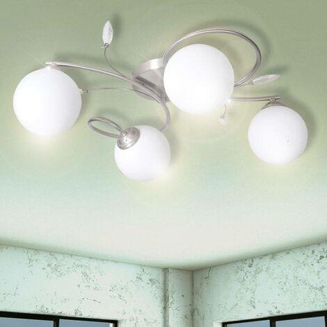 Lampe plafond avec feuilles acryliques verres soufflés 4 ampoules G9 HDV08753