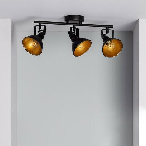 Lampe Plafond Orientable Emer 3 Spots Noir Noir