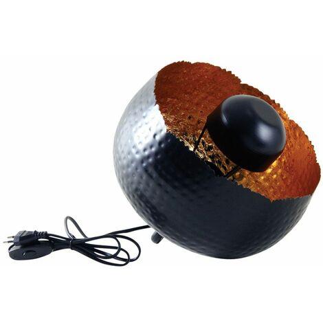 Lampe ronde à poser en métal noir avec intérieur doré Diamètre 28cm
