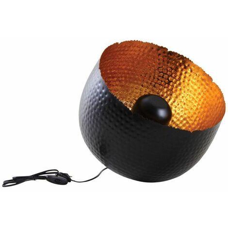 Lampe ronde à poser en métal noir avec intérieur doré Diamètre 36cm