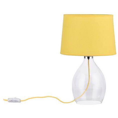 Lampe salon pied verre et abat-jour jaune Coda