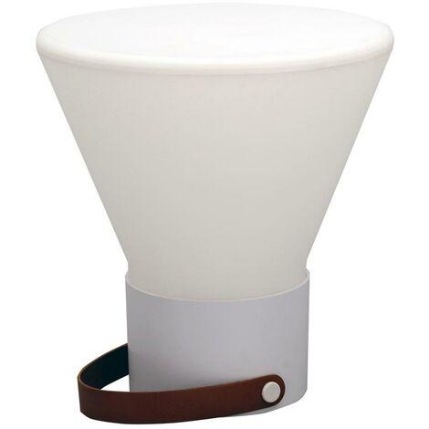 Lampe sans fil design poignée cuir LED blanc/multicolore dimmable JOE CONIC H33cm avec socle à induction