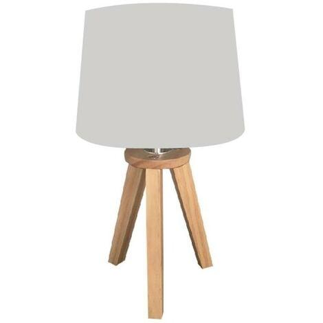 Lampe scandinave 3 pieds en bois gris - Gris