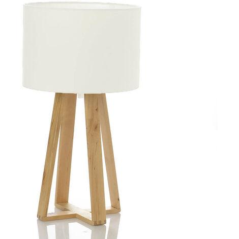 Lampe Scandinave blanche avec pied en bois - Blanc