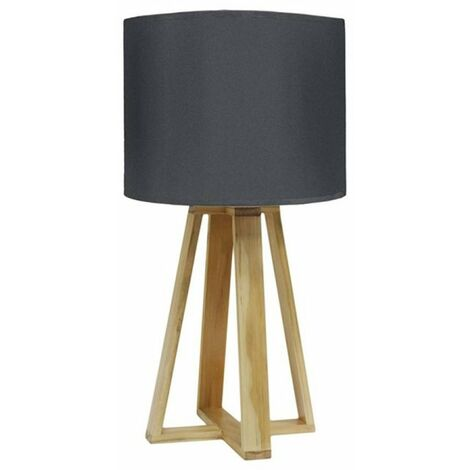 Lampe scandinave pied bois anthracite - Gris