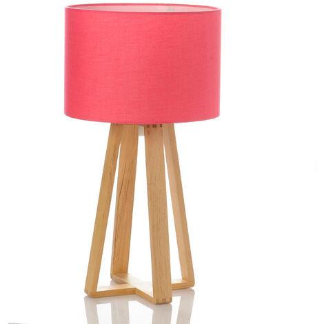 Lampe Scandinave rose avec pied en bois - Rose