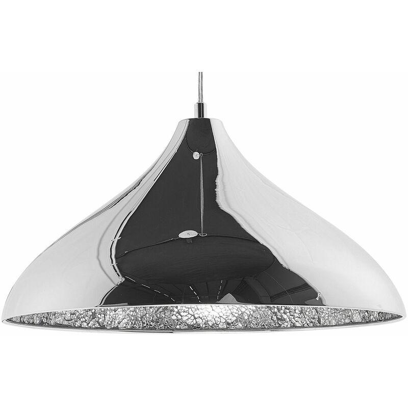 Beliani - Hängeleuchte Silber Metall mit Schirm in Trichterform Glitzerstein-Optik aus Glas Moderner Look