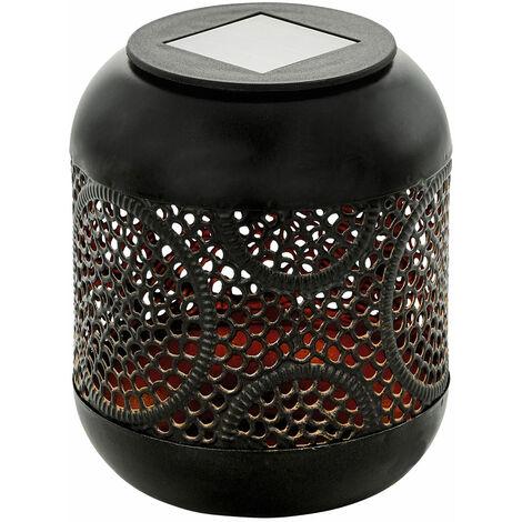 Lampe solaire à LED, acier, noir cuivre, décorations découpées, H 13 cm