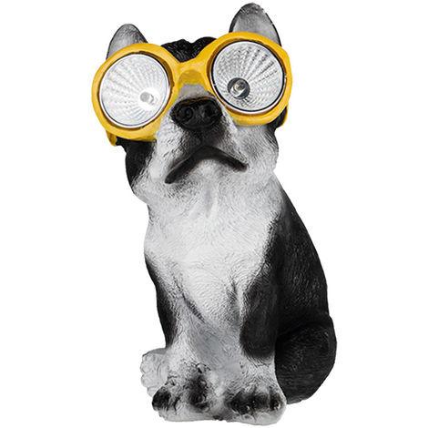 Lampe solaire à LED, chien, lunettes, jaune, hauteur 20 cm