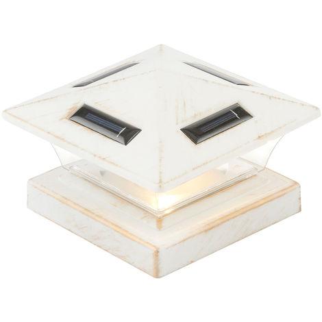 Lampe solaire à LED pour garde-corps, poteaux de portail et de clôture, blanc antique