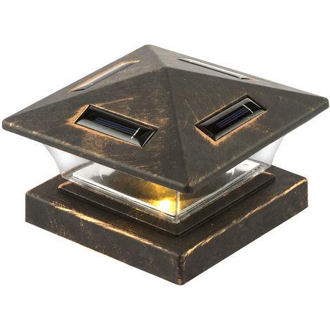 Lampe solaire à LED pour garde-corps, poteaux de portail et de clôture, noir