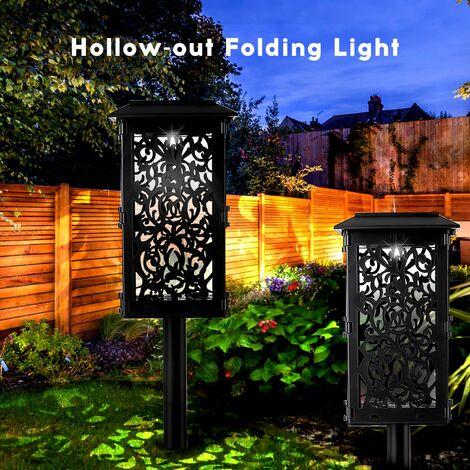 Lampe Solaire Creuse Pliante Lampe Lanterne Gradation Lumiere Blanche Ip65 2Pcs