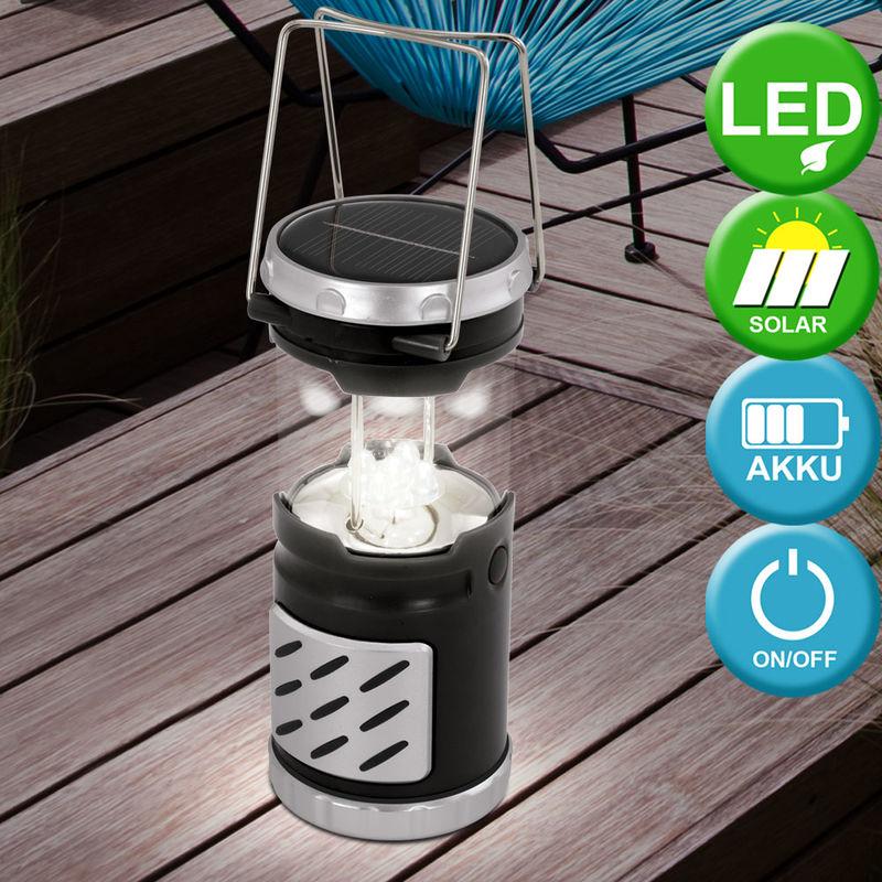 Lampe Del Accu Solaire Extérieur Espace Luminaire Noir Camping 0PXwOk8n