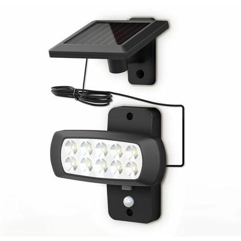 Lampe solaire LED extérieur avec détecteur de mouvements PIR projecteur mural maison terrasse balcon IP44 noir