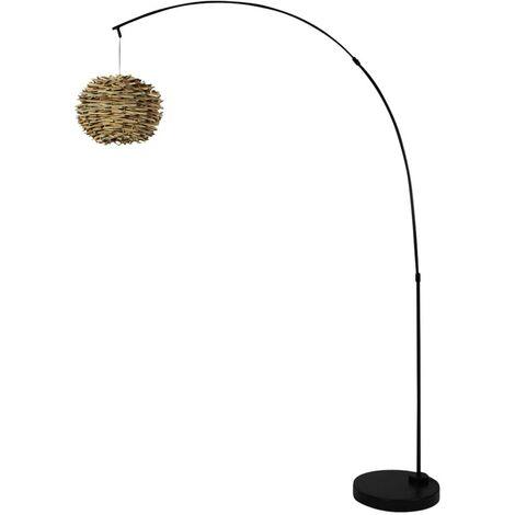 Lampe sur pied arceau métal et osier - Bois