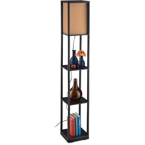 Lampe sur pied étagère, lampadaire, 3 étages, lumière moderne, HxLxP 159 x 26 x 26 cm, noir-brun