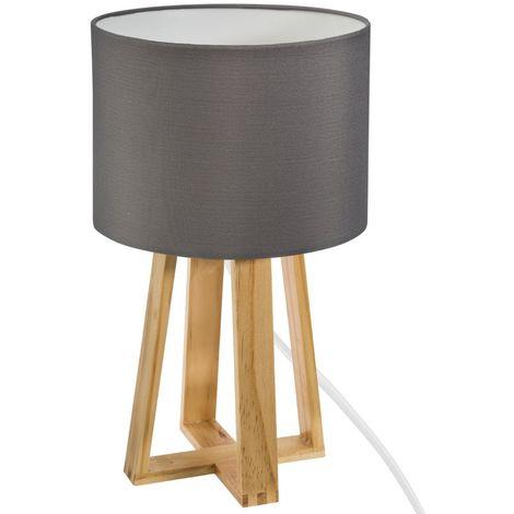 Lampe sur pied grise en bois - H 35 cm -PEGANE-