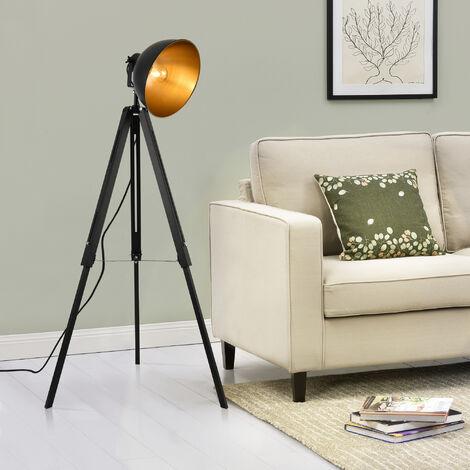Lampe sur pied Lampadaire Trépied avec Abat-jour Design Industriel Métal Noir et Or 135 cm x 60 cm