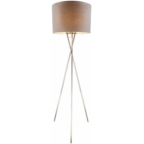 Lampe sur pied Spot à 3 pieds Éclairage du salon Lampe sur pied textile gris Globo 15185S1