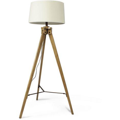 Lampe sur pied trépied pin massif abat-jour blanc - Blanc