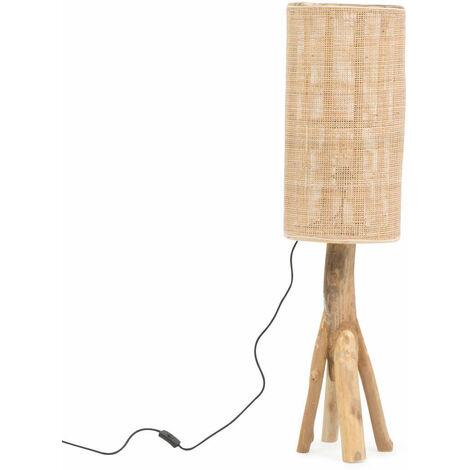 Lampe sur pied tronc d'arbre et cannage