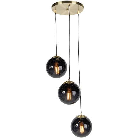 Lampe suspendue au-dessus de la table de chevet à côté du lit, chambre, lampe art déco tendance, verre Qazqa Rustique Luminaire interieur Globe