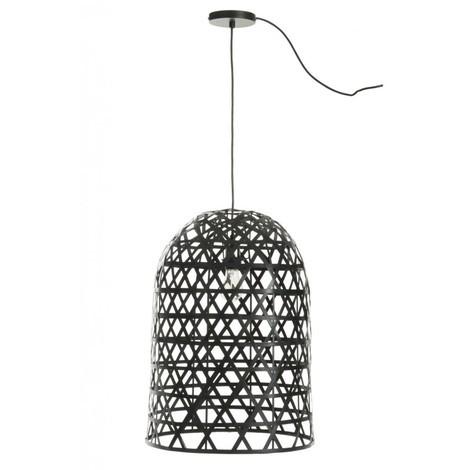 Lampe suspendue cylindrique Bambou Noir