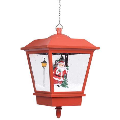 Lampe suspendue de Noël lumière LED Père Noël Rouge 27x27x45 cm
