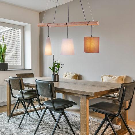 Lampe suspendue design poutres en bois textile pendentif multicolore projecteur plafonnier de salon lumières direct 15460-23