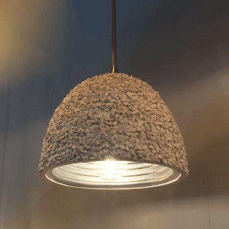 Lampe suspendue en béton blanc et intérieur argenté - Levia - Blanc