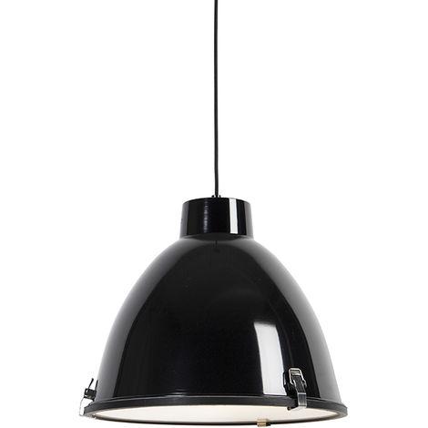 Lampe suspendue industrielle noir 38 cm dimmable - Anteros Qazqa Industriel, Moderne Luminaire interieur Globe Rond