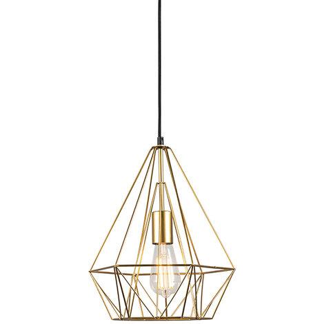 Lampe suspendue industrielle or - Carcasse Qazqa Design, Moderne Minimaliste Vintage Cage Lampe Luminaire interieur Rond