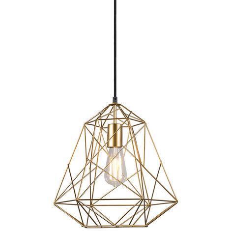 "main image of ""Lampe suspendue industrielle or - Framework Basic Qazqa Moderne Minimaliste Vintage Cage Lampe Luminaire interieur Rond"""