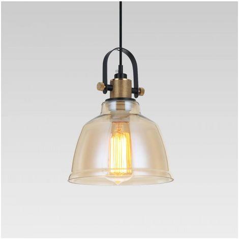 Lampe suspendue industrielle verre ambré - Linz