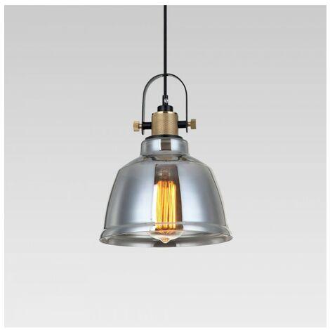 Lampe suspendue industrielle verre fumé - Linz